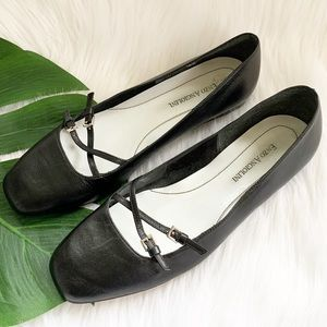 Enzo Angiolini Black Leather Ballet Flats Size 8